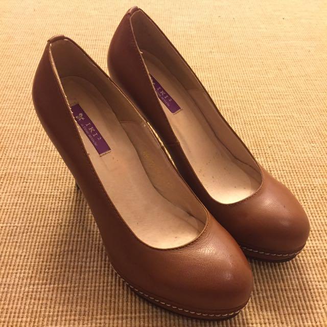 Ikk2防水台牛皮色高跟鞋23.5號 跟高約5-6公分