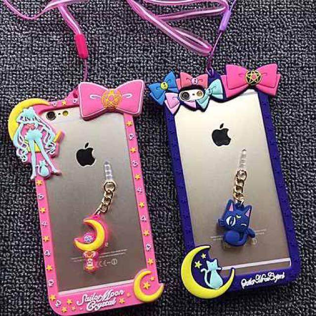 美少女戰士美少女硅膠邊框自帶防塵塞掛脖繩iphone6s手機殼蘋果6plus保護套