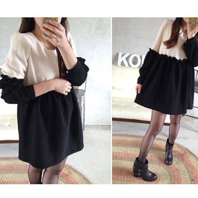 Koki購入 黑白撞色質感後挺雪紡料洋裝