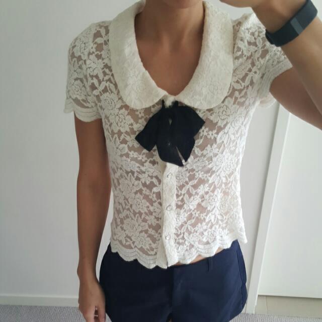 Lace Tie Front Top