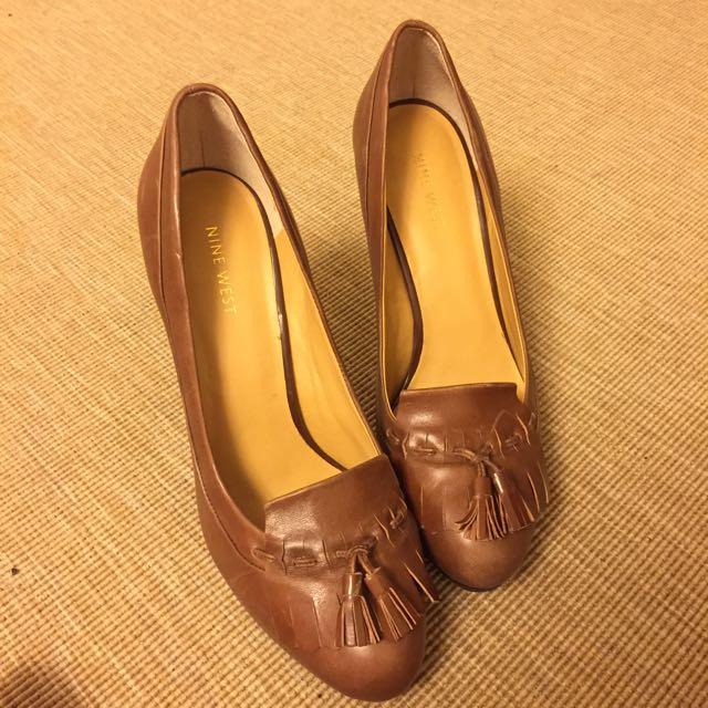NINE WEST真皮莫卡辛高跟鞋 8.5號(約25號) 約7-8公分高專櫃訂價4580元