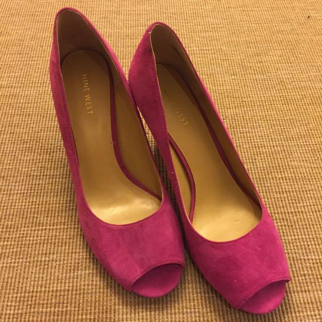 Nine West桃紅色中魚口鞋 8號 跟高約4-5公分 定價3480