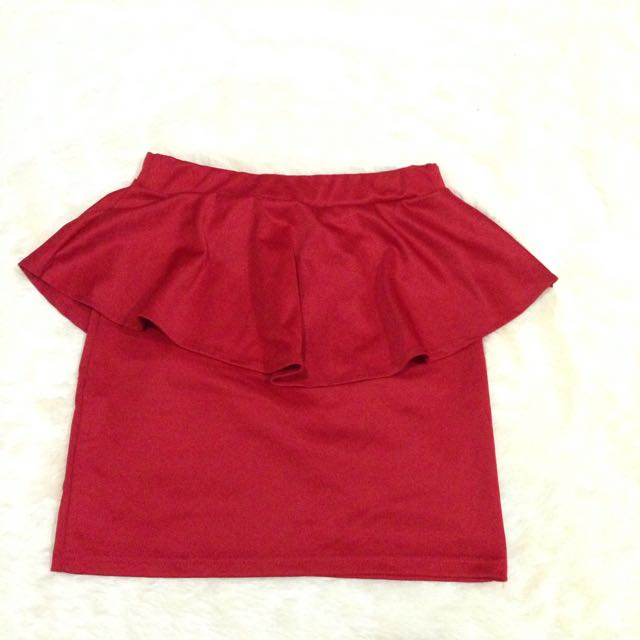 Red Peplum Mini Skirt