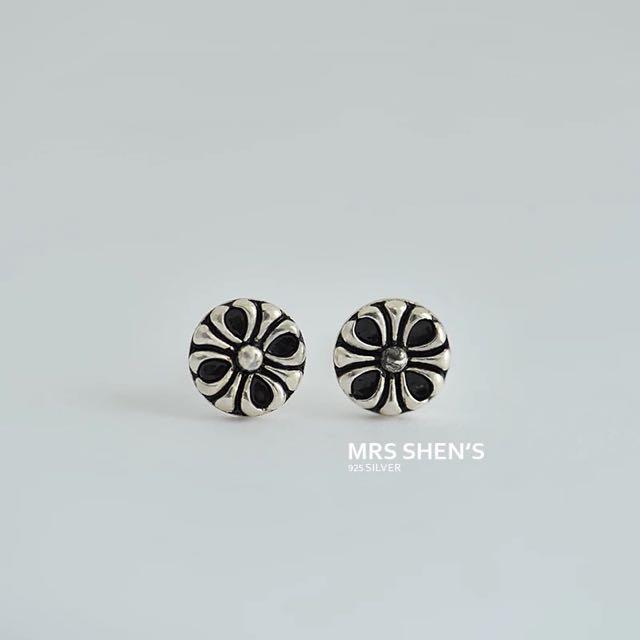S172 925純銀 復古中性文藝迷你紋理耳環