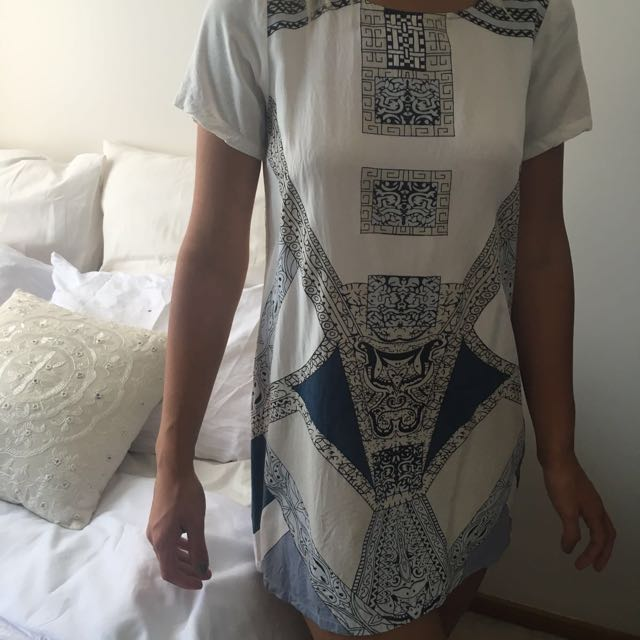 Stussy Loose Tshirt Dress Aztec Pattern