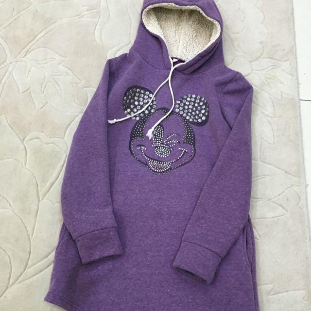 胸前燙鑽米老鼠大雪帽T 紫色