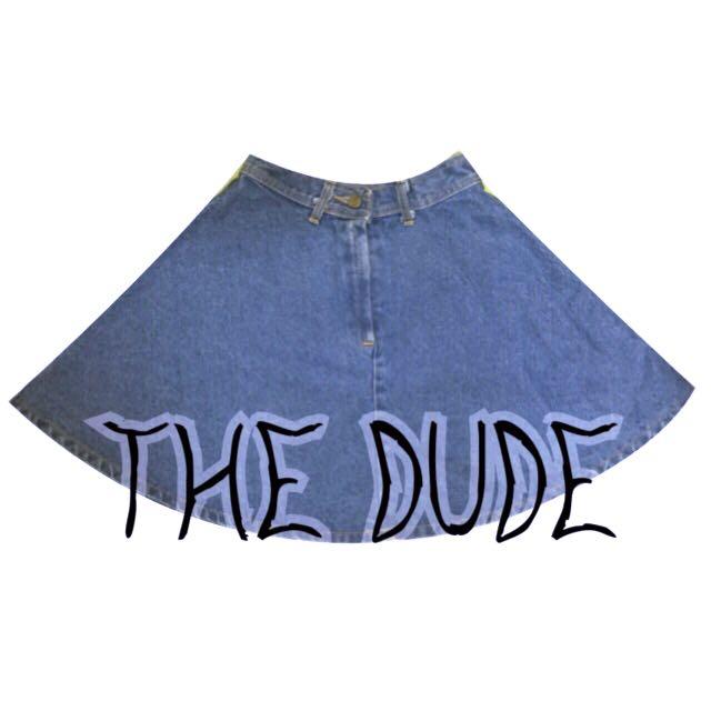 泰國The Dude復古高腰單寧牛仔A字短裙.藍