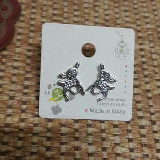 韓製小鹿銀耳環