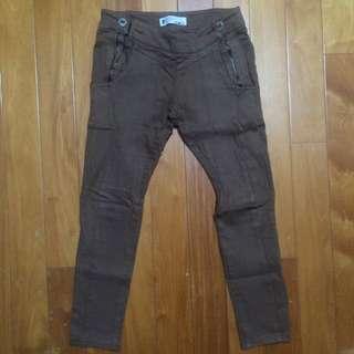 正韓S-line深咖啡色顯瘦休閒褲