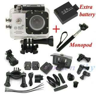 [PREORDER]Action Camera SJ7000 Wifi 2.0 LTPS LED mini cam recorder marine diving 1080P HD DV Go pro style two batteries + monopod