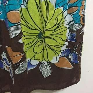 氣質手繪感花卉飄逸中長裙 藍綠