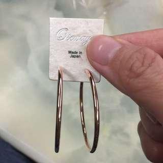 耳環 無耳洞 圈圈 玫瑰金 日本製 全新