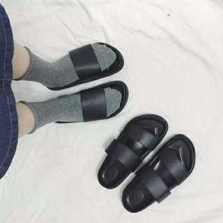 港風基本黑色涼鞋拖鞋