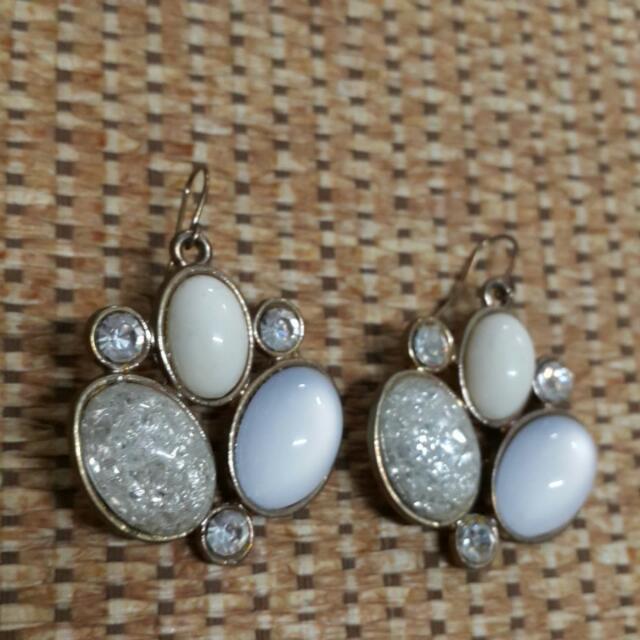 復古寶石水鑽耳環