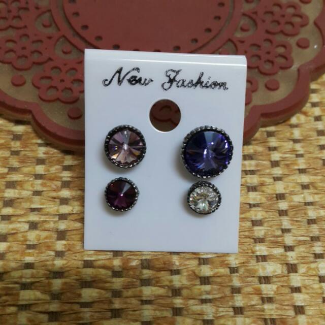 紫色系水鑽耳環