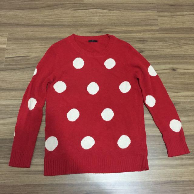 可愛米妮紅色點點針織