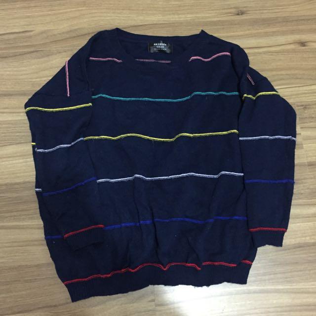 藍底彩虹針織