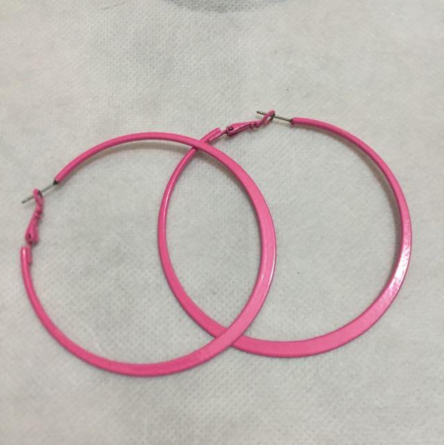 桃紅扁型大圈圈耳環