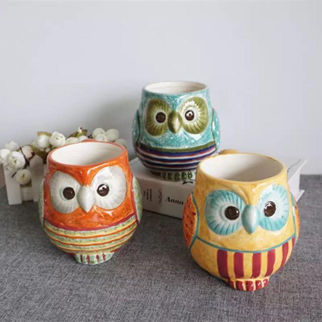 貓頭鷹彩繪陶瓷杯 #00102