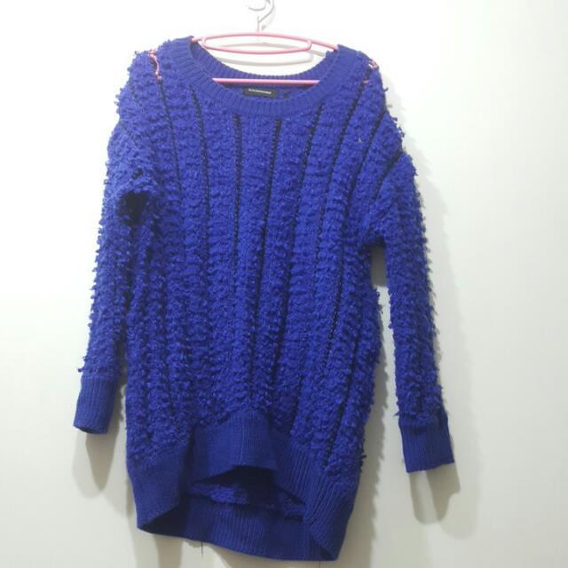 韓國寶藍色設計款毛衣