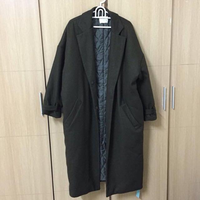墨綠舖棉羊毛長版大衣外套