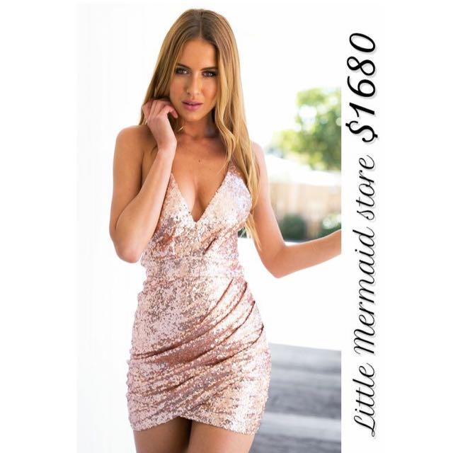 性感修身亮片洋裝