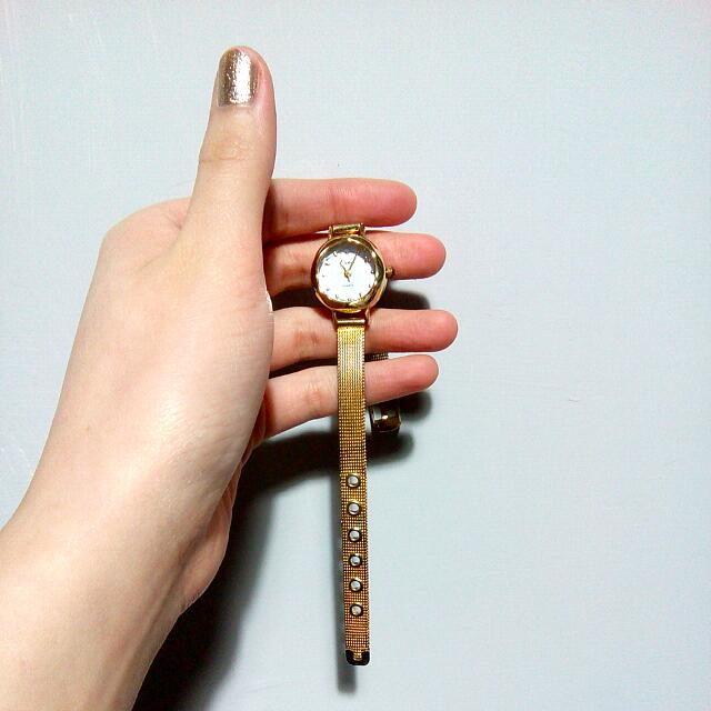 金色氣質細錶帶手錶
