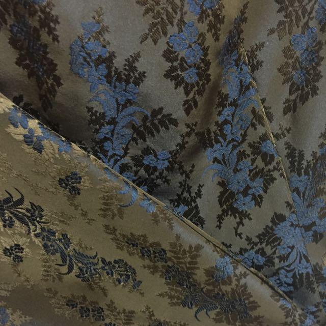 貴氣高質感花卉圖騰背心連身裙長洋裝 藍咖啡