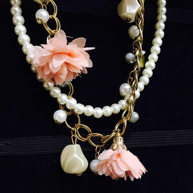 花朵項鍊 珍珠