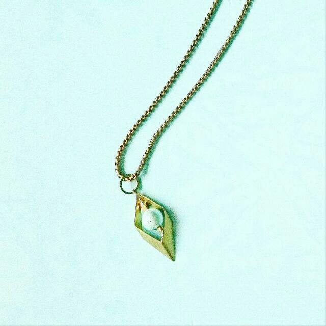 復古黃銅鏤空菱角水藍 淺藍 天空藍棉珠中長鍊