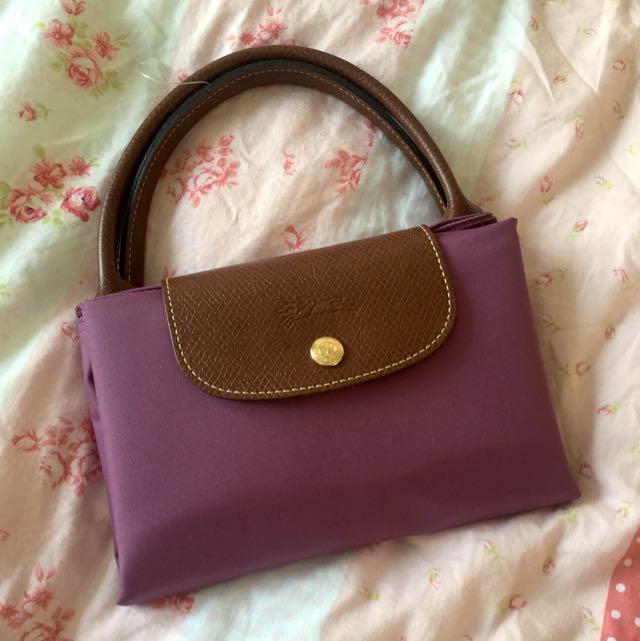 全新 Longchamp 短把M摺疊包 2013秋冬絕版色LILAS 紫藤色