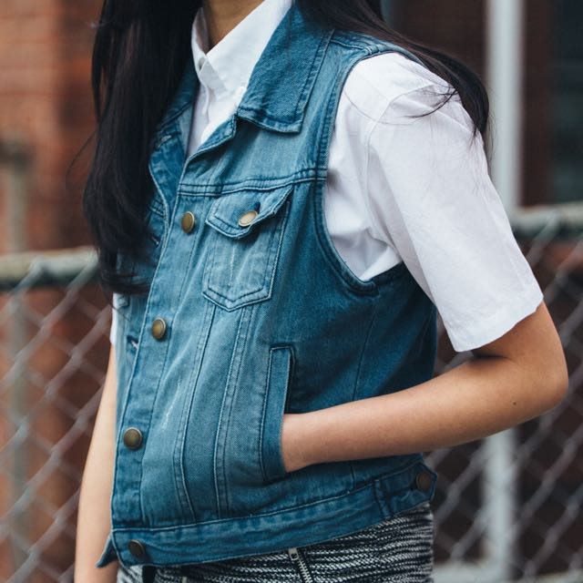Denim Sleeveless Outerwear