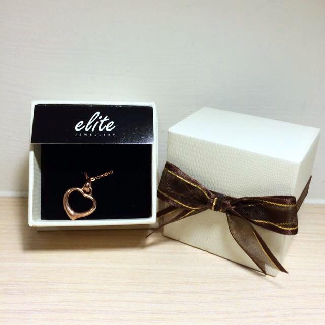 Elite 925純銀墜飾 典雅心環 愛心 玫瑰金 項鍊