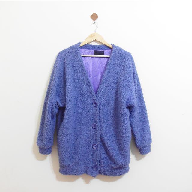 Forever 21毛料可愛藍紫色外套