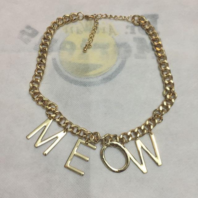 Meow字金屬項鍊