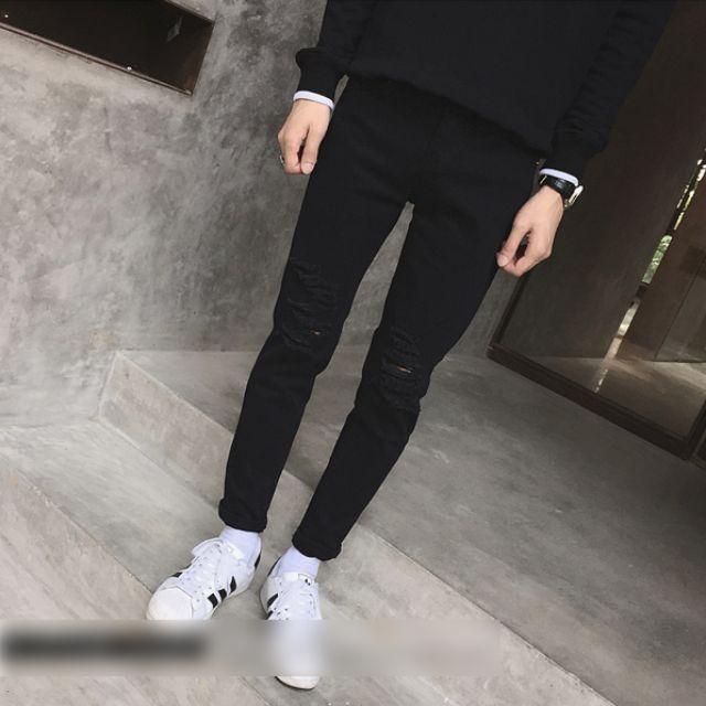 OLDBOY P3407  GD黑色破壞丹寧褲
