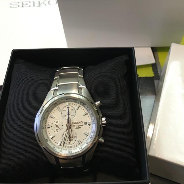 【原裝機芯】SEIKO 超霸三眼計時鋼帶錶