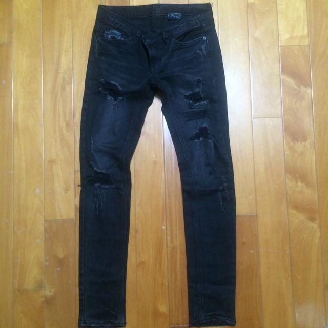 正韓Slinky Mix&remix黑色顯瘦刷破皮革造型牛仔褲
