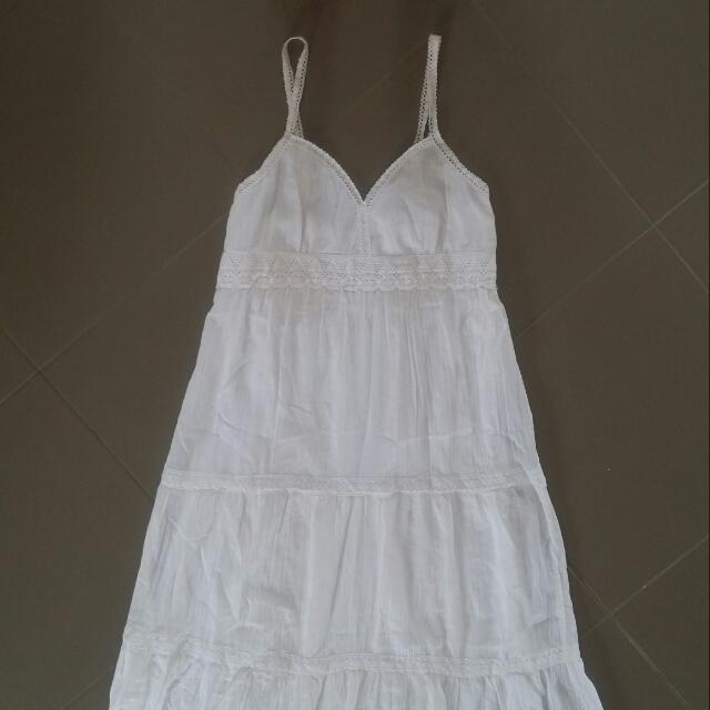 White Muslin Maxi Dress   Size 14