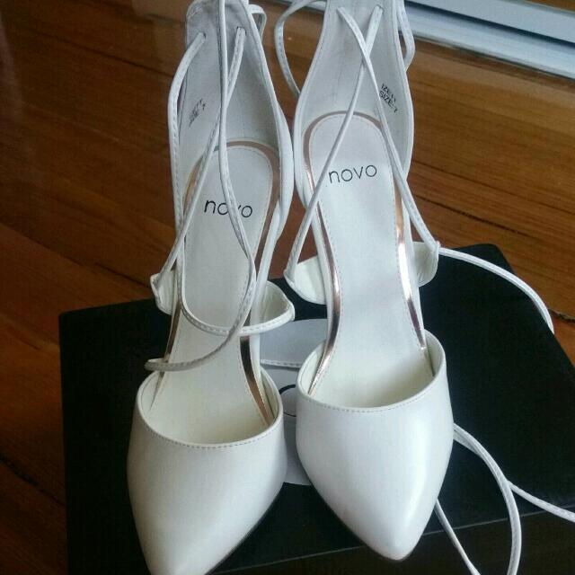 White Strapy Heels