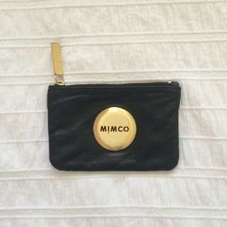Mimco Black Leather Small Pouch (gold)