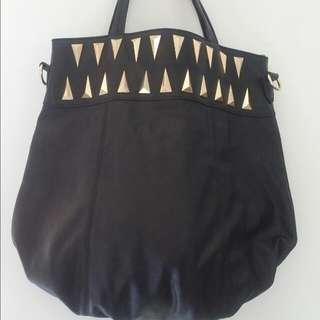 Black Tote Bag  Has A Detachable Long Strap