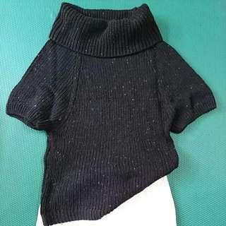 彩線大翻領黑針織毛衣