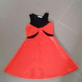 Neoprene Orange And Black Dress  Size M