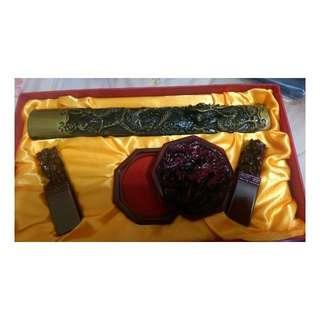 印泥  鎮尺 雕刻章  文定之喜 文房 專用 材質 樹脂