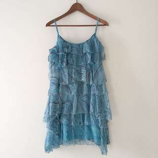 Silk Azul Tiered Dress