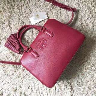 Tory burch thea small rounded 雙流蘇新款真皮肩背包/側背包 酒紅色
