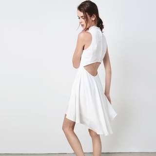 white lake low cutout bareback dress