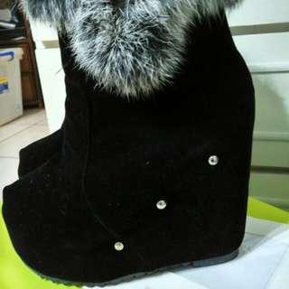 毛毛靴 厚底鞋 23.5