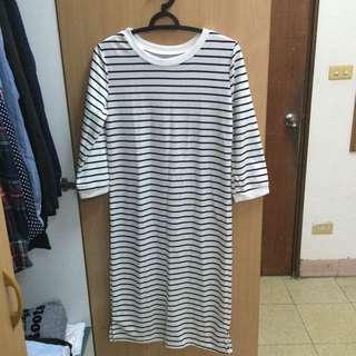 全新✨條紋長版裙